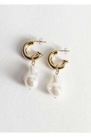 & OTHER STORIES Pearl Pendant Mini Hoop Earrings