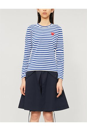 Comme des Garçons Heart-appliqué cotton-jersey top