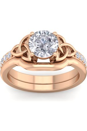 SuperJeweler 1 1/10 Carat Round Diamond Claddagh Bridal Ring Set in 14K (6 g) (