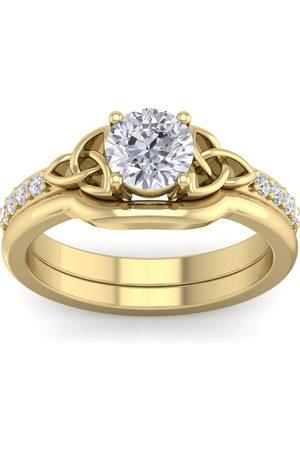 SuperJeweler 7/8 Carat Round Diamond Claddagh Bridal Ring Set in 14K (6 g) (