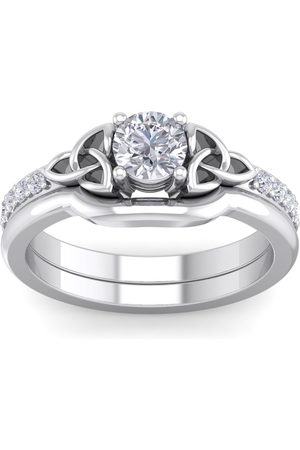 SuperJeweler 0.60 Carat Round Diamond Claddagh Bridal Ring Set in 14K (6 g) (