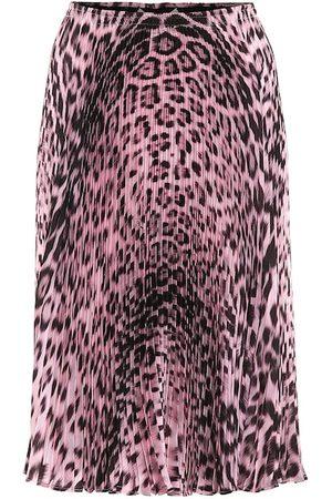 Roberto Cavalli Pleated leopard-print skirt