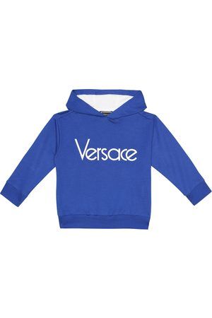 VERSACE Logo stretch-cotton hoodie