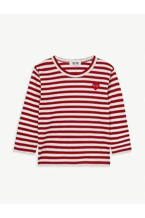 Comme des Garçons Boys Long Sleeve - Play logo striped long-sleeve cotton T-shirt 2-6 years