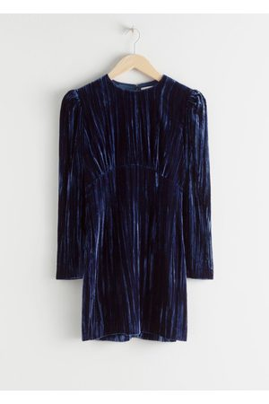 & OTHER STORIES Women Party Dresses - Crushed Velvet Puff Sleeve Mini Dress