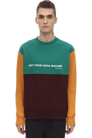 Drôle de Monsieur Paneled Color Block Slogan Sweatshirt