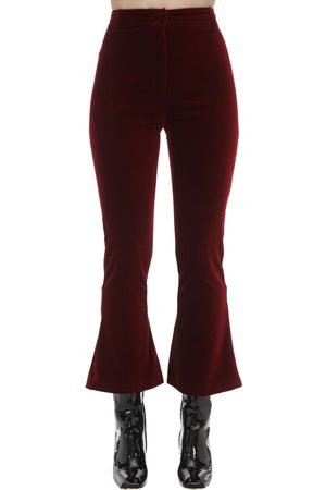 HEBE STUDIO Cropped Charlie Flared Velvet Pants