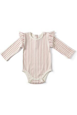 Pehr Girls Onesies - Infant Girl's Stripes Away Ruffle Bodysuit