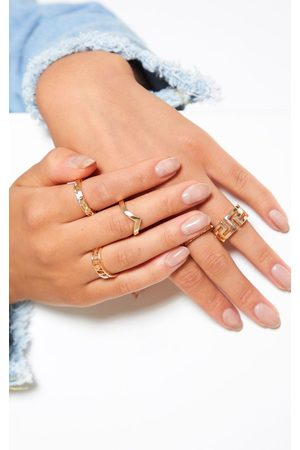 PRETTYLITTLETHING Roman Multi Shape Five Set Ring Pack