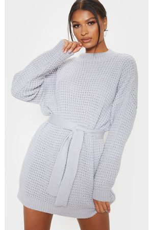PRETTYLITTLETHING Light Grey Soft Touch Belted Knitted Jumper Dress