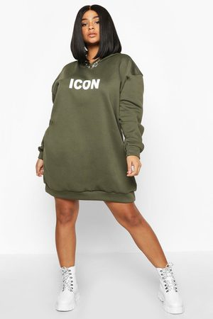 Boohoo Womens Plus Original Oversized Hooded Sweat Dress - - 12
