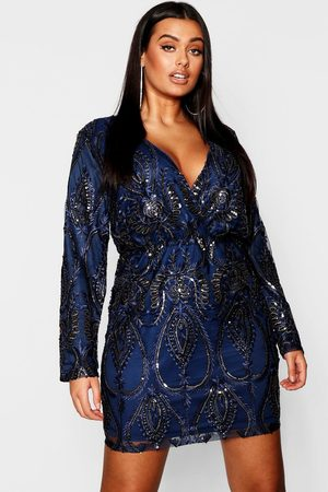 Boohoo Womens Plus Lace & Sequin Plunge Mini Dress - - 12