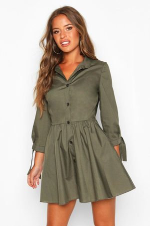 Boohoo Womens Petite Button Through Smock Dress - - 2