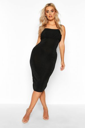 Boohoo Womens Plus Ruched Bodice Textured Slinky Midi Dress - - 12