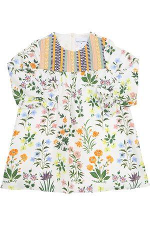 Oscar de la Renta Flower Print Silk Twill Dress