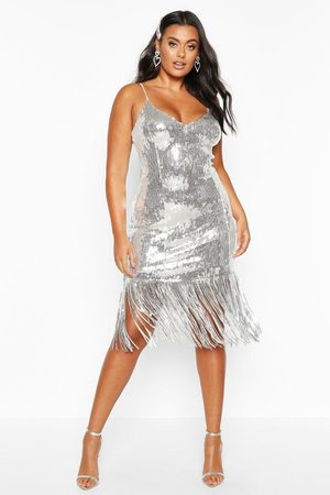 Boohoo Womens Plus Sequin Bustier Tassel Midi Dress - - 12