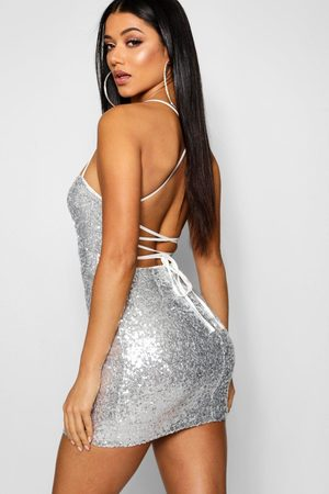 Boohoo Womens Sequin Strappy Back Bodycon Dress - - 2