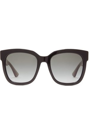 Gucci Square Web Stripe Glittered Acetate Sunglasses - Womens - Multi