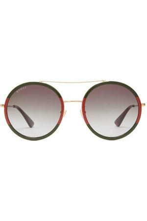 Gucci Web Stripe Round Metal Sunglasses - Womens - Multi