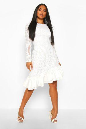 Boohoo Womens Sequin Baroque Ruffle Mini Dress - - 2