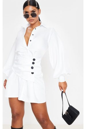 PRETTYLITTLETHING Button Waist Detail Shirt Dress