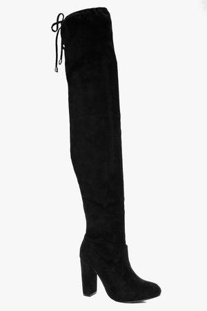Boohoo Women Thigh High Boots - Womens Block Heel Tie Back Thigh High Boots - - 5