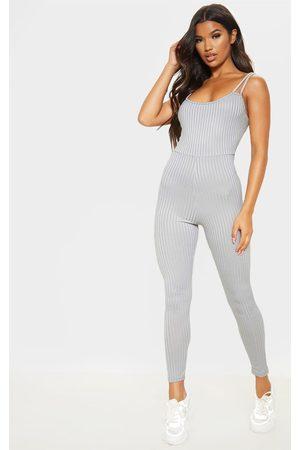 PRETTYLITTLETHING Women Jumpsuits - Grey Rib Double Strap Jumpsuit