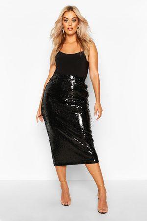 Boohoo Womens Plus Sequin Longline Midi Skirt - - 12