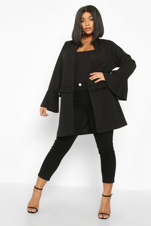 Boohoo Womens Plus Ruffle Detail Collarless Jacket - - 12