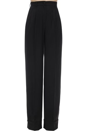 Dolce & Gabbana Wide Leg Wool Blend Gabardine Pants