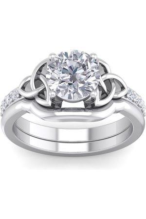 SuperJeweler 2 1/10 Carat Round Diamond Claddagh Bridal Ring Set in 14K (6.50 g) (