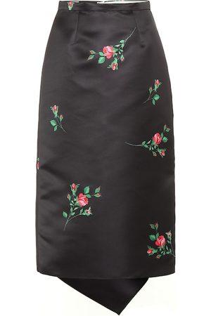 Rochas Floral satin midi skirt