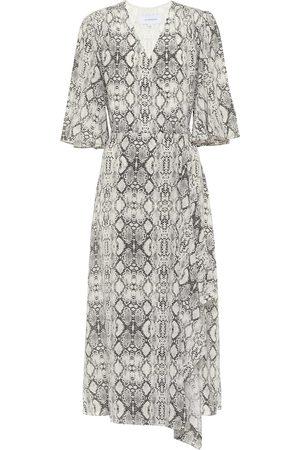 Les Rêveries Snake-print silk dress