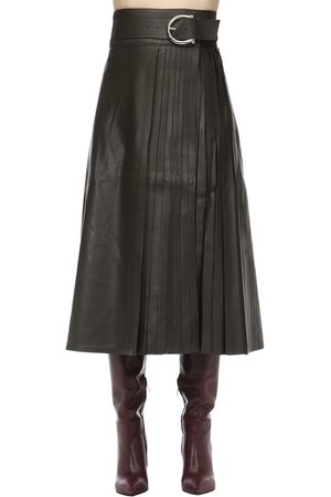 DODO BAR OR Women Leather Skirts - Belted Leather Midi Skirt W/ Pleats