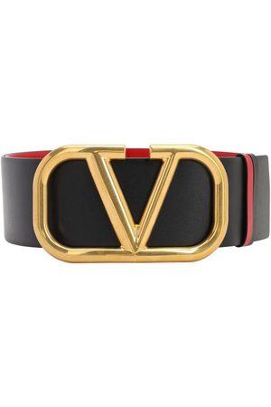 VALENTINO Women Belts - 70mm Go Logo Reversible Leather Belt