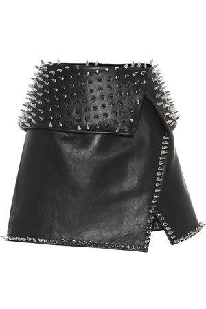 Balmain Studded leather miniskirt