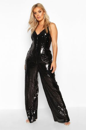 Boohoo Womens Plus Sequin Strappy Wide Leg Jumpsuit - - 14