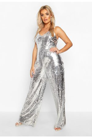 Boohoo Womens Plus Sequin Strappy Wide Leg Jumpsuit - - 16
