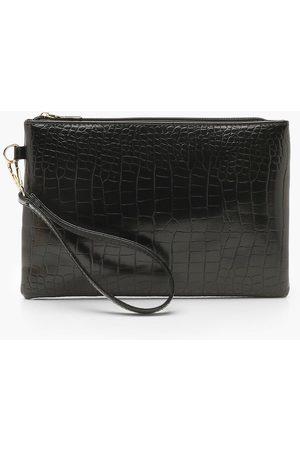 Boohoo Womens Croc Zip Top Clutch Bag - - One Size