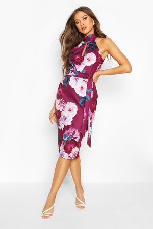 Boohoo Womens High Neck Floral Cut Out Detail Midi Dress - - 10