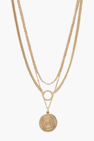 Boohoo Womens O-Ring & Coin Chain Necklace - - One Size