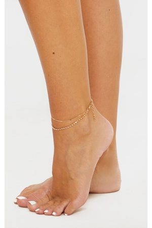 PRETTYLITTLETHING Diamante Double Chain Anklet