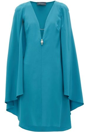 Julie De Libran Bluebird Cape-sleeve Silk Dress - Womens