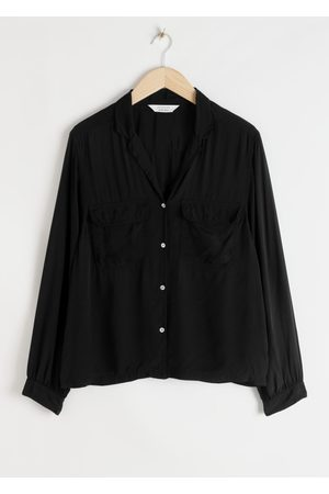 & OTHER STORIES Satin Open Collar Blouse
