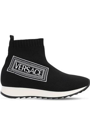 VERSACE Logo Print Knit Sock Sneakers