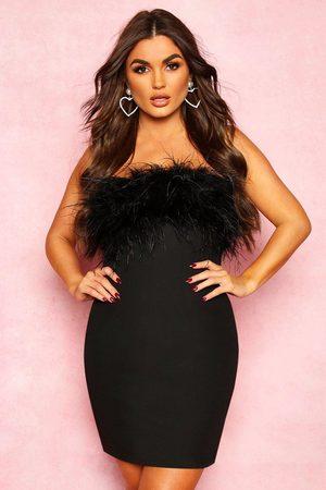 Boohoo Womens Bandeau Feather Mini Bodycon Dress - - 10
