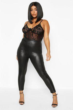 Boohoo Womens Plus PU High Waisted Leggings - - 12