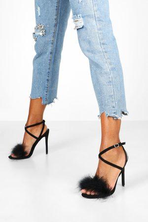 Boohoo Womens Feather Trim 2 Part Stilettos - - 5