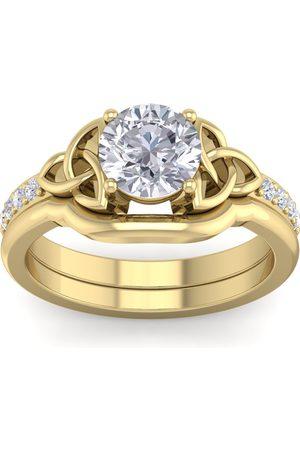 SuperJeweler 1 1/10 Carat Round Diamond Claddagh Bridal Ring Set in (5 g) (