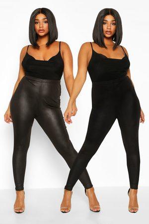 Boohoo Womens Plus 2 Pack Legging & Basic Legging - - 12